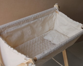 Doll Bassinet for Child Role Play. Handmade Wooden Rope and Cotton Doll Bassinet, Crib, Play, Carrier.