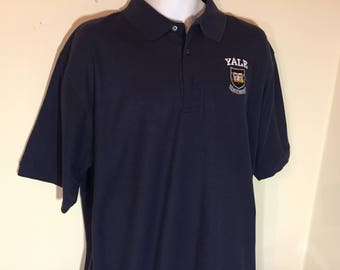 YALE UNIVERSITY College  POLO-Embroided Shirt Adult xL  t