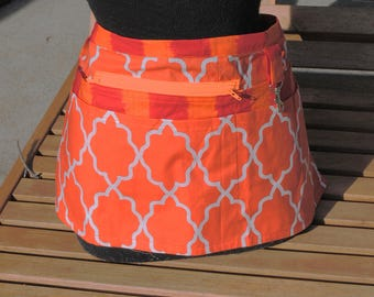 Handmade Vendor Apron  Utility Craft Farmers Market  Orange White
