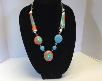 Koralle und Türkis-Anweisung Halskette