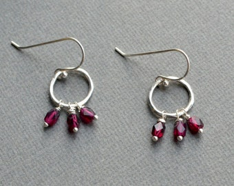 Garnet Dangle Earrings, Open Circle with Tiny Gemstones, Garnet and Sterling Silver, Hammered Twig Like Circle Hoops, January Birthstone