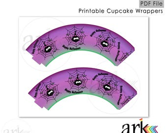 Halloween - Spiders - Printable Cupcake Wrappers.