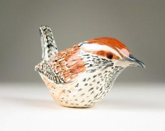 Ceramic Bird Hand Formed Cactus Wren