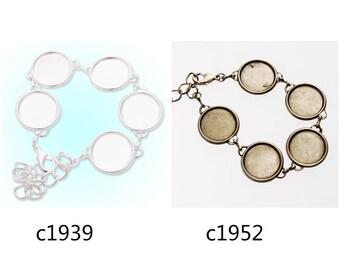 5pcs bracelet with 5pcs 18mm bezels, fit 18mm round cabochons