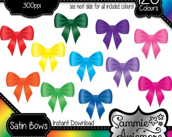 INSTANT DOWNLOAD 120 Digital Printable Clipart Satin Bow Ribbons in 120 Different Colors. Scrapbook, Card Making, Planner etc