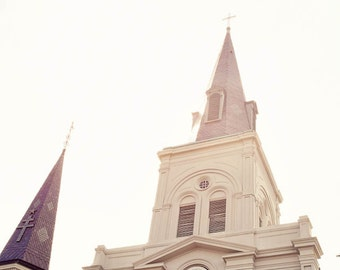 st louis cathedral, new orleans photography, white home decor, architecture art, french quarter decor, jackson square, louisiana art