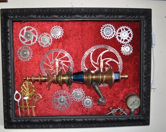 "Ray Gun "" COBALTUS DECOPACITATOR RAYGUN "" Wall Art Steampunk Sci-fi Victorian Industrial"