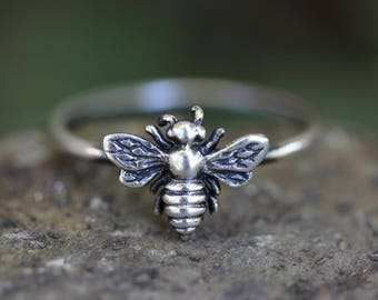 Silver Bee Ring Sterling Silver Stacking Rings Bee Ring Silver Rings Stacking Rings Bee Jewelry Nature Ring Nature Jewelry Stackable Rings