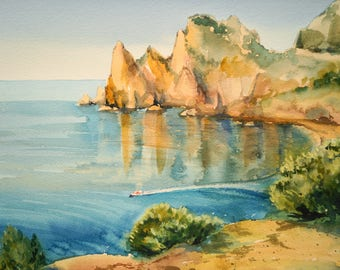 ORIGINAL Watercolor Painting, Marine Watercolor, Watercolour Seascape, Original waterscape painting, Watercolor Wall Art, Watercolor Picture