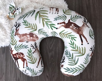 Deer woodland boppy pillow cover nursing pillow cover with long zipper fawn buck forest green brown woods gender neutral (#0286)