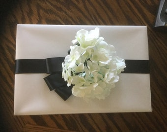 Gift wrap bow black ribbon with flower