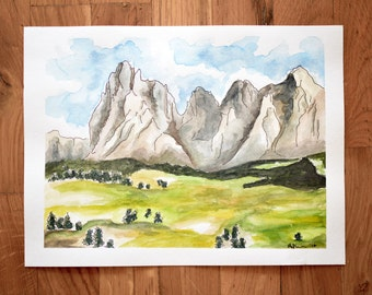 The Alps Mountain Watercolor Painting
