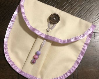 Cream and Lavender Button Pouch Trinket Pouch Component Pouch