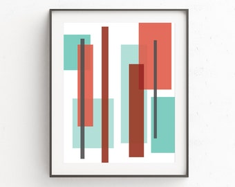 Mid Century Modern Art, Geometric Print, Geometric Art, Mid Century Modern Wall Art, Instant Download Printable Art, Red and Blue