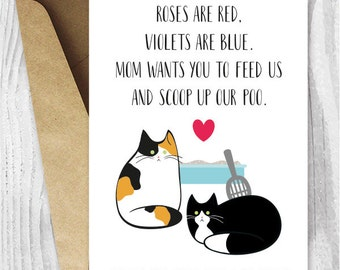 Valentine Card Printable, Valentine Card Him Printable for Dad, Calico and Tuxedo Cat Valentine Cards for Husband from the Cats, Boyfriend
