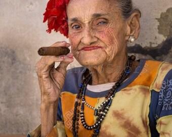 Cuban Lady with Cigar, Cuba Photography, Cuba Print Art, Cigar Art, Cuban Cigar, Woman Portrait, Cafe Restaurant Poster, Vertical Wall Art
