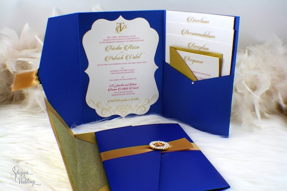 Royal Blue Wedding Invitation Cards: Royal Wedding Invitation Blue And Gold Invitation Pocket
