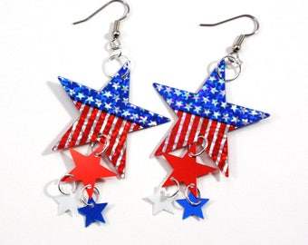 Patriotic American Flag Star Earrings Red White & Blue Hologram Dangles Plastic Sequin Jewelry