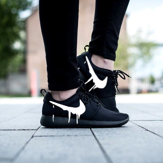 Nike Roshe Triple Black with Custom White Candy Drip Swoosh