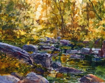 "Sunlight Through the Leaves - Original WATERCOLOR by Linda Henry - 5""x 7"" - Ready to Frame with a free White Mat (#144)"