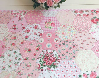 Custom/made to order- pretty hexie patchwork table topper