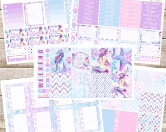 ENCHANTING MERMAIDS Planner STICKERS Individual Sheets sized for the Erin Condren Life Planner