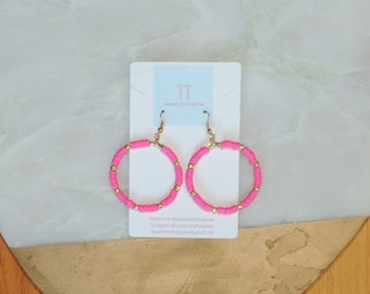 Casey Beaded Hoop in Pink African Vinyl
