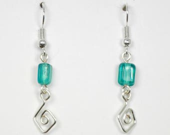 Teal Glass with Silver Wirework Earrings