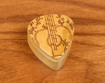 "DISCONTINUED - REDUCED PRICE Guitar Pick Box, 2-1/4"" x 2"" x 1 D"", Vines Deep, Solid Cherrywood, Laser Engraved, Paul Szewc"
