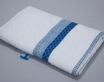 """Small towel """"Calf"""" - blue gingham & blue scales"""
