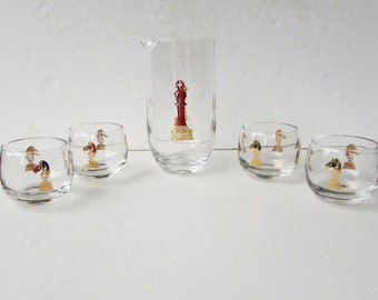 Mid Century Modern Barware - Checkmate Martini Set by Hickok - Gold Chess Piece Decoration- Pitcher and 4 Roly Poly Glasses - Cocktail Set