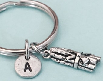 Asparagus keychain, asparagus charm, vegetable keychain, vegetable charm, personalized keychain, initial keychain, customized, monogram