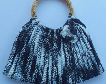 Crochet Handbag with Bamboo Handles (ON SALE)