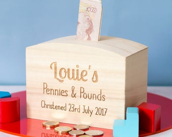 Wooden Money Box - Christening Gift - Personalised Money Box - Childrens Money Box - Gift For Kids - Money Bank - Money Box - LC144