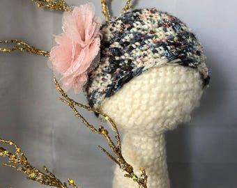Baby Girl hand Crochet Wool Beanie Hat with organza lace flower-  baby Fashion - Warm hat- photo prop beanie - baby hat - baby beanie