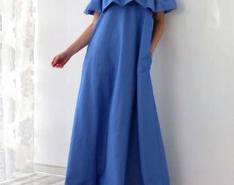 Maxi Ruffle Dress, Maxi Dress, Ruffle dress, Blue dress, Party dress, Long dress, Dress with pockets