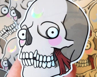 SAILOR MOON SKULL | Holographic Vinyl Die Cut Sticker