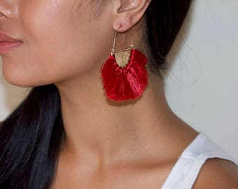 Large fan earrings
