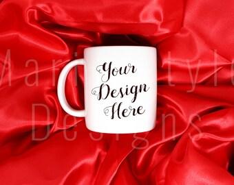White Mug Mockup on Red Satin, Styled Stock Photography, Styled Stock photo, Styled Stock Image, Product Photography, Blank Coffee Mug, 201