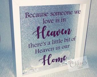 Memorial frame, silhoutte glitter frame, loved ones in heaven, angel gift, loved ones passed, forever frame, Rememberance gift, Remembering