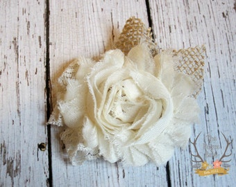 Rustic Wedding Hair Clip - Burlap Lace & Chiffon - Alligator Clip - Wedding  Ivory cream