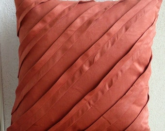 Decorative Throw Pillow Covers Pillow Couch Sofa Bed Toss Pillow 20x20 Rust Suede Pillow Case with Pintucks Bedding - Contemporary Rust