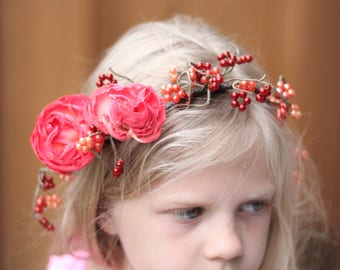 Tie Back Floral Crown,Beads and Flowers Accessories