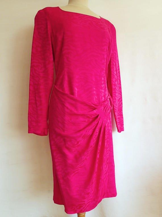 80s vintage party dress fuchsia pink silk cocktail dress