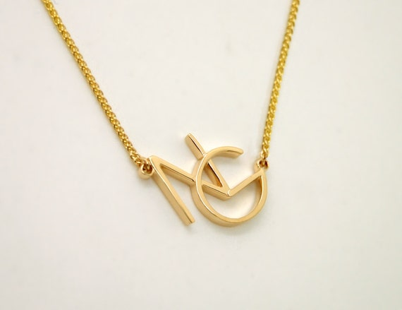 Monogram necklace 14k gold initial jewelry personalized aloadofball Image collections