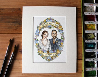 Wedding gift, Custom couple illustration, Couple's portrait, Couple's gift, Personalised gift, Watercolour portrait, Gift for Wife.