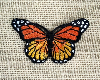 "Iron On Patches Butterfly Patch Embroidered Decal 3"" Bright Orange Monarch Butterfly Patch for Jackets."