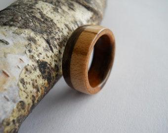walnut and maple ring, custom, handmade
