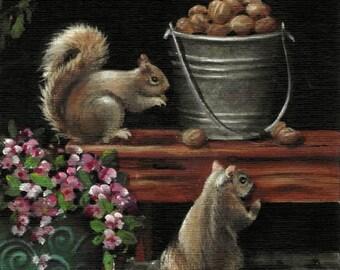 "5 X 7        ""Back Porch Vistors""     Small Format Original Acrylic Painting"