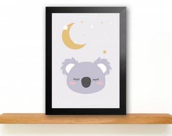 A4 Sleepy Koala Poster Kids room picture